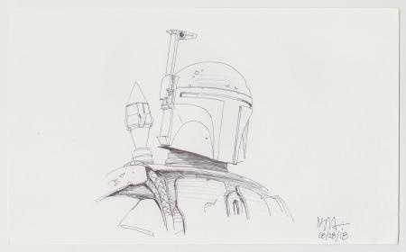 Lot # 152: Boba Fett Sketch - Chest and Helmet