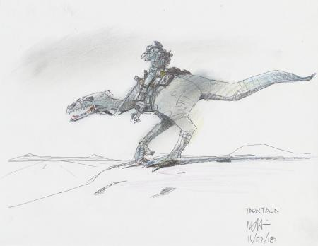 Lot # 153: Luke on Tauntaun with Binoculars Colored Design Sketch