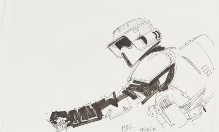 Lot # 154: Scout Trooper Sketch - Riding