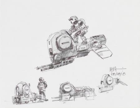 Lot # 155: Alternate Speeder Bike Multiple Colored Sketches with Scout Trooper