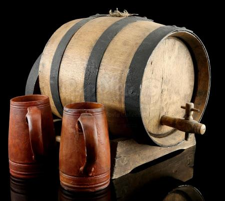 Lot # 28: Lion's Pride Inn Oak Barrel, Stand and Mugs