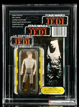 Lot # 67: UK Tri-Logo Han Solo (In Carbonite Chamber) ROTJ79B AFA 80+
