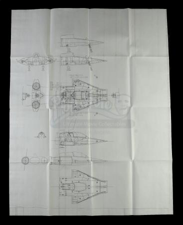 "Lot # 99: A-Wing Engineering Drawing Period Copy (34""x44"")"
