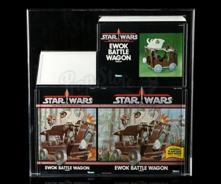 Lot # 145: Ewok Battle Wagon Box Flat POTF AFA 80