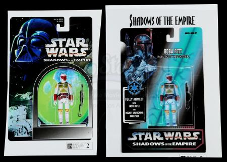 Lot # 167: Two Unproduced Boba Fett Bounty Hunter Cardback Concept Prints