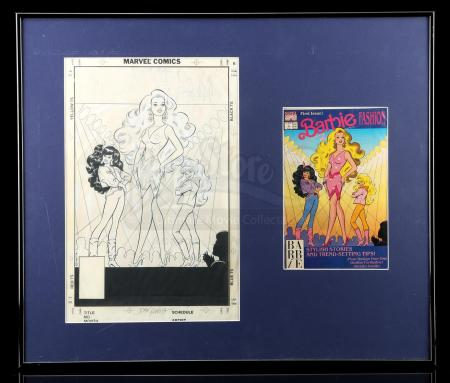 Lot # 444: Framed and Matted Barbie Fashion #1 Cover with Comic