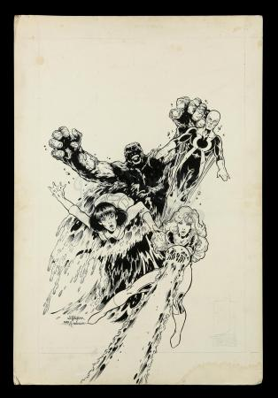 Lot # 460: Justice Machine Annual #1 Elementals Drawing