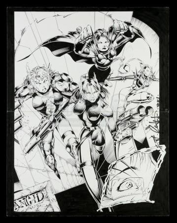 Lot # 462: Large Pin-Up of Four Female Characters