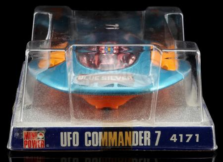 Lot # 622: Diecast UFO Commander 7 Blue Silver Space Ship