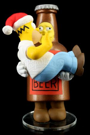 Lot # 623: Hand-Painted Homer Simpson and Tipsy Duff Ornament Prototype