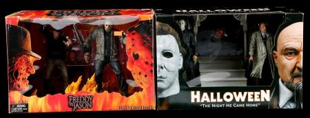 Lot # 671: Two Jason Voorhees Figures, Halloween Diorama, and Freddy vs. Jason Diorama - Sealed