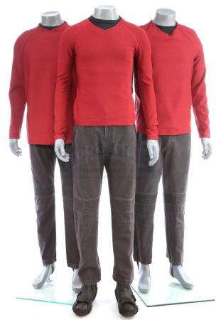 Lot # 176: STAR TREK (2009) & STAR TREK INTO DARKNESS (2013) - Three Men's USS Enterprise Operations Uniforms