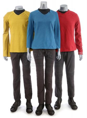 Lot # 180: STAR TREK (2009) & STAR TREK INTO DARKNESS (2013) - Three Men's USS Enterprise Uniforms