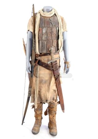 Lot # 24: ROBIN HOOD (2018) - Robin's Crusader Costume with Bow, Sword, Arrow, and Draft Notice