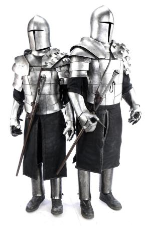 Lot # 81: ROBIN HOOD (2018) - Two Cardinal's Guard Armor Costumes with Weaponry