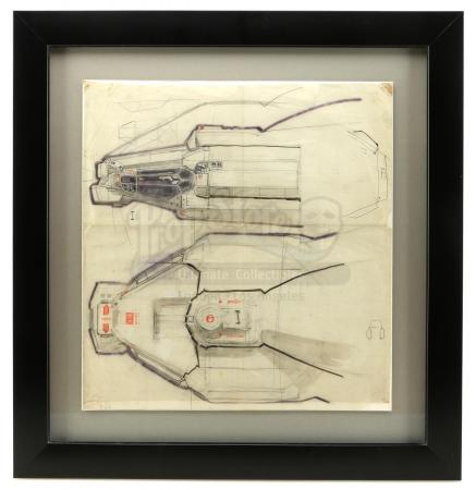 Lot #14 - ALIEN (1979) - Framed Hand-Drawn Ron Cobb Nostromo Cockpit Concept Sketch