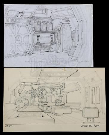 Lot #22 - ALIENS (1986) - Hand-Drawn Ron Cobb Colony Air Lock and Operating Room Concept Sketches