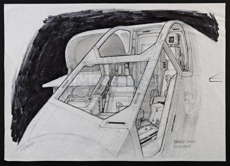 Lot #23 - ALIENS (1986) - Hand-Drawn Ron Cobb Drop Ship Cockpit Concept Sketch