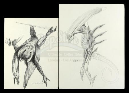 Lot #32 - ALIEN3 (1992) - Pair of Hand-Drawn Runner Concept Sketches by Tom Woodruff, Jr. and Alec Gillis