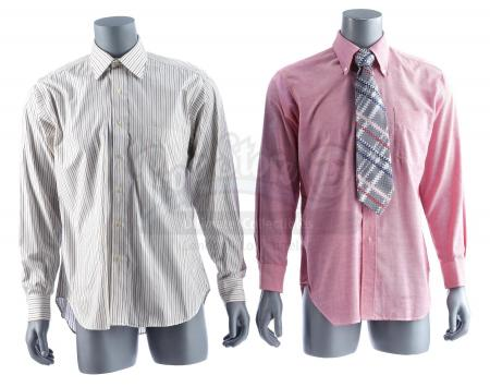 Lot #63 - ANCHORMAN: THE LEGEND OF RON BURGUNDY (2004) - Brian Fantana's (Paul Rudd) Shirt and Tie with Brick Tamland's (Steve Carell) Shirt