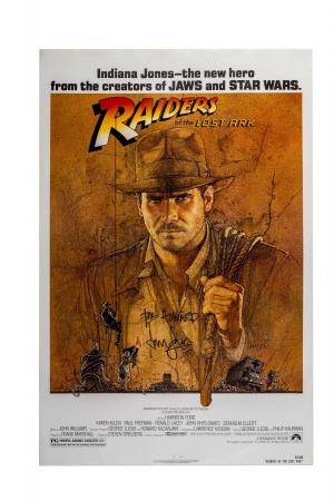 Lot #354 - RAIDERS OF THE LOST ARK (1981) - One-Sheet Release Poster Signed by Harrison Ford