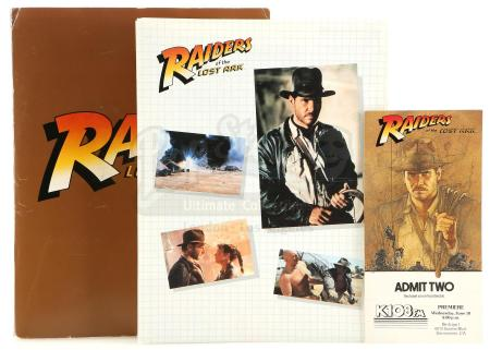 Lot #355 - RAIDERS OF THE LOST ARK (1981) - Press Kit, Cast and Crew Ticket, and Third Draft Script
