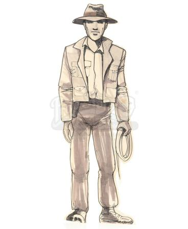 Lot #366 - INDIANA JONES AND THE TEMPLE OF DOOM (1984)/INDIANA JONES AND THE LAST CRUSADE (1989) - Hand-Drawn ILM Indiana Jones Scale Reference Cut-Out