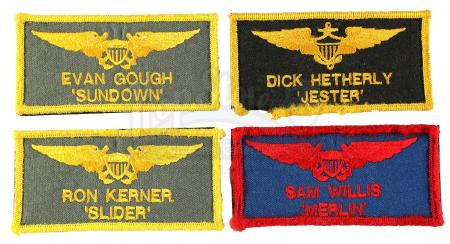 Lot #812 - TOP GUN (1986) - Merlin (Tim Robbins), Jester (Michael Ironside), Slider (Rick Rossovich) and Sundown's (Clarence Gilyard Jr.) Flight Suit Patches