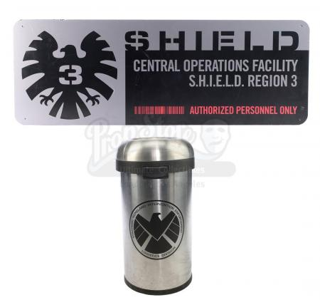 Lot #4 - Marvel's Agents of S.H.I.E.L.D. - S.H.I.E.L.D. Hub Sign and Trash Can