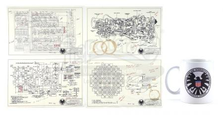 Lot #12 - Marvel's Agents of S.H.I.E.L.D. - Stark Industries 'The Bus' Schematics with S.H.I.E.L.D. Mug