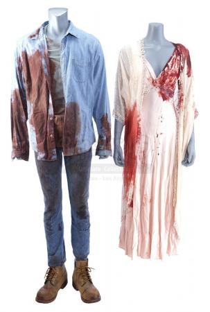 Lot # 20: THE HAUNTING OF HILL HOUSE - Olivia Crain's Sacrifice to the Hill House Costume with Younger Hugh Crain Costume