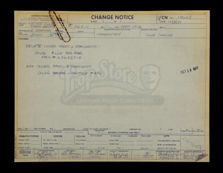 Lot # 136 - Kenner Tusken Raider Engineering Change Notice Sheet - Oct. 1977