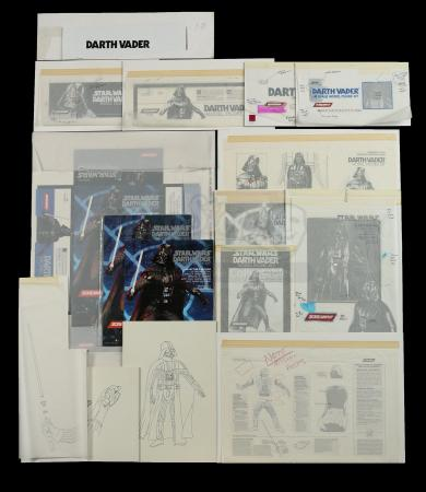 Lot # 165 - Darth Vader Model Figure Kit Proofs and Hand-Drawn Concept Art