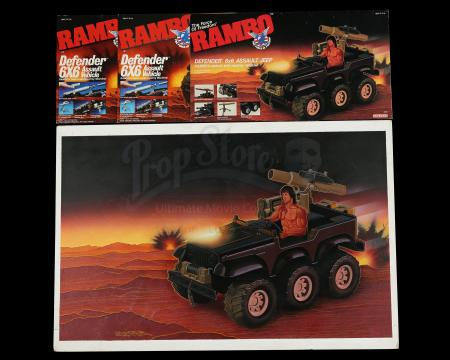 Lot # 517 - Original Hand-Painted Defender Assault Vehicle Box Art And Art Proofs