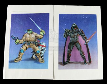 Lot # 590 - Teenage Mutant Ninja Turtles/Star Wars Crossover Printed Artwork