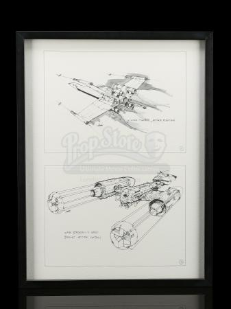 Lot # 669 - Framed Joe Johnston X-Wing And Y-Wing Supersnipe Print