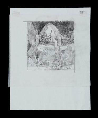 Lot # 705 - Hand-Drawn Ralph McQuarrie Concept Sketch - Krayt in Cave