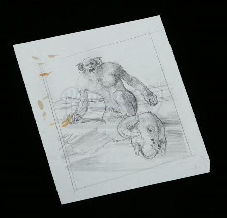 Lot # 706 - Hand-Drawn Ralph McQuarrie Concept Sketch - Wampa And Tauntaun