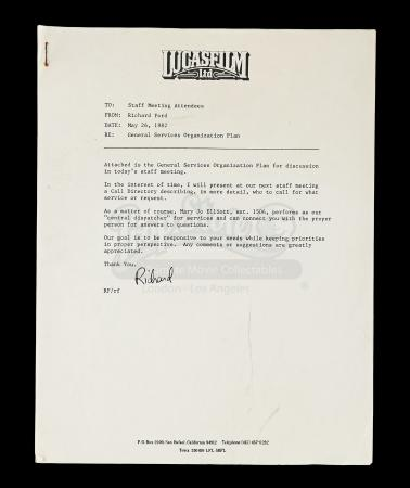 Lot # 713 - General Services Organization Memo