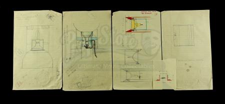 Lot # 721 - Hand-Drawn Charlie Bailey Star Destroyer Engine Drawings