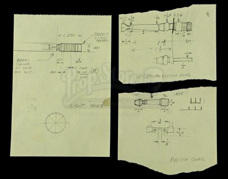 Lot # 722 - Hand-Drawn Charlie Bailey Millennium Falcon Gun Drawings