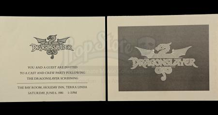 Lot # 728 - 2 Dragonslayer Cast and Crew Party Invitations