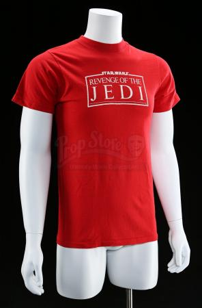 "Lot # 767 - Red ""Revenge Of The Jedi"" Crew Shirt [Kazanjian Collection]"